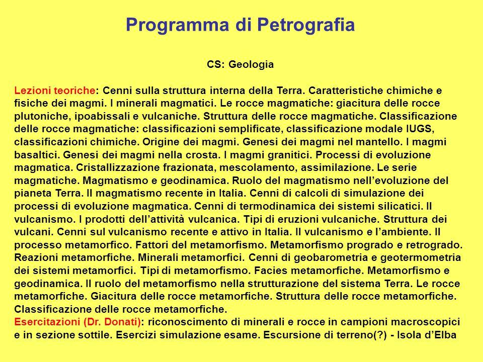 Programma di Petrografia