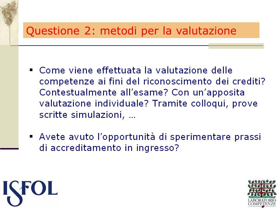 Questione 2: metodi per la valutazione