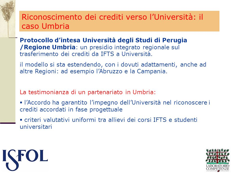 Riconoscimento dei crediti verso l'Università: il caso Umbria