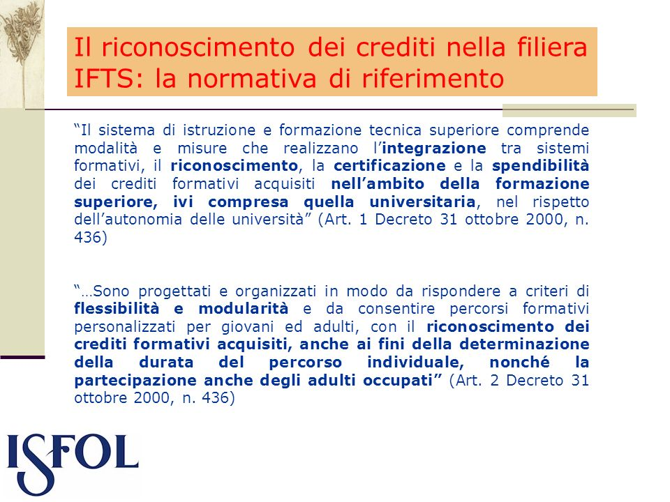 Il riconoscimento dei crediti nella filiera IFTS: la normativa di riferimento