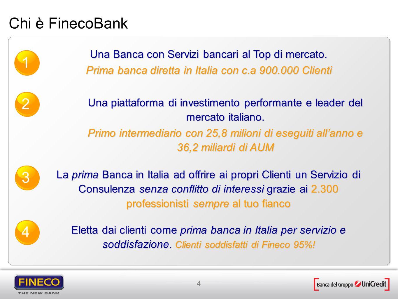 Chi è FinecoBankUna Banca con Servizi bancari al Top di mercato. Prima banca diretta in Italia con c.a 900.000 Clienti.