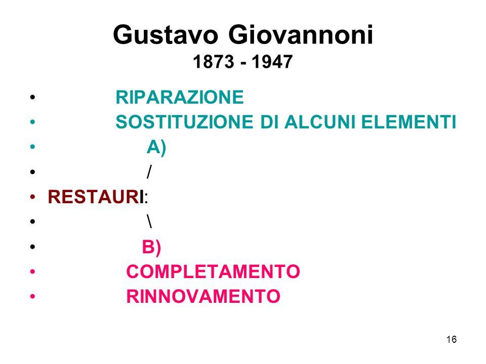 Gustavo Giovannoni 1873 - 1947 RIPARAZIONE