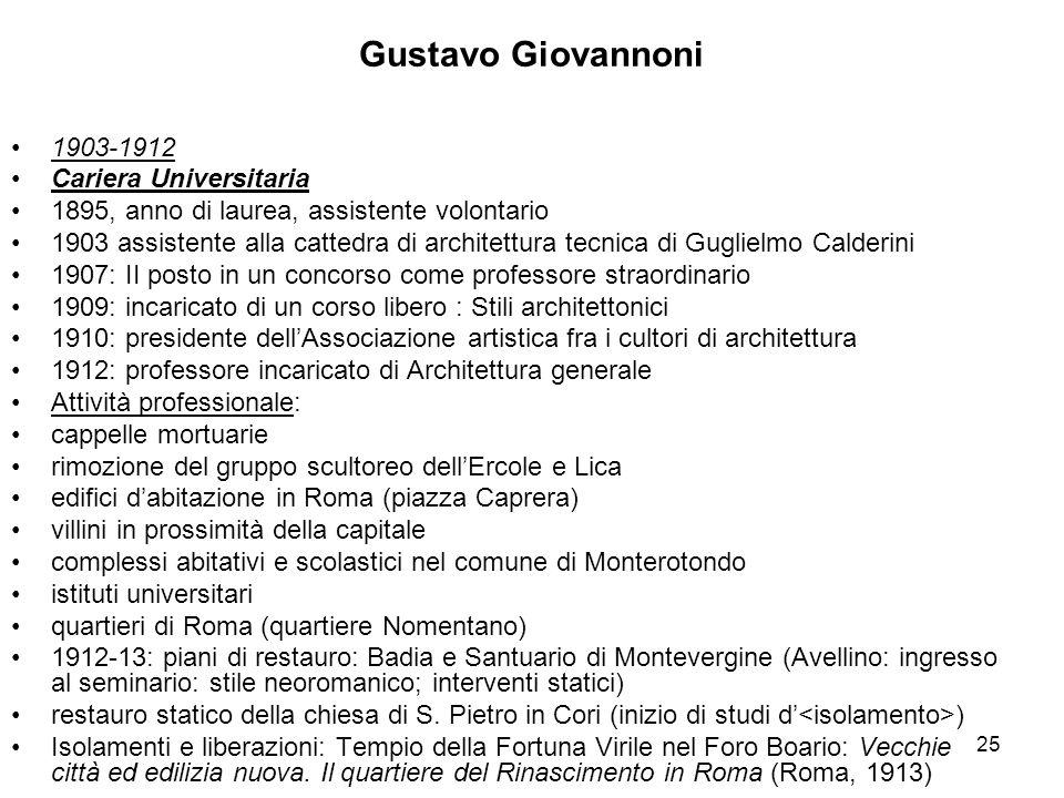 Gustavo Giovannoni 1903-1912 Cariera Universitaria