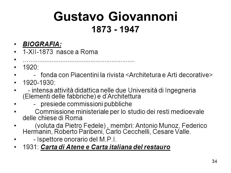 Gustavo Giovannoni 1873 - 1947 BIOGRAFIA: 1-XII-1873 nasce a Roma