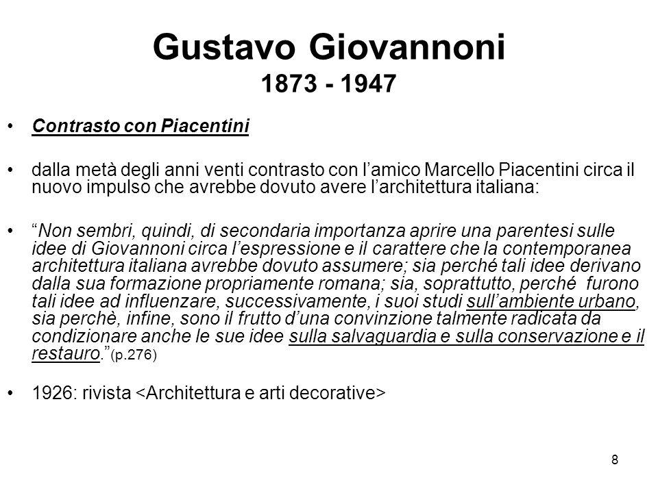 Gustavo Giovannoni 1873 - 1947 Contrasto con Piacentini