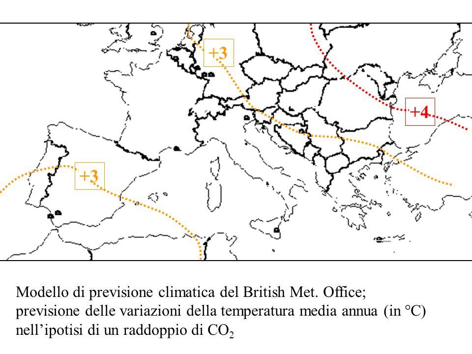 +3 +4 +3 Modello di previsione climatica del British Met. Office;