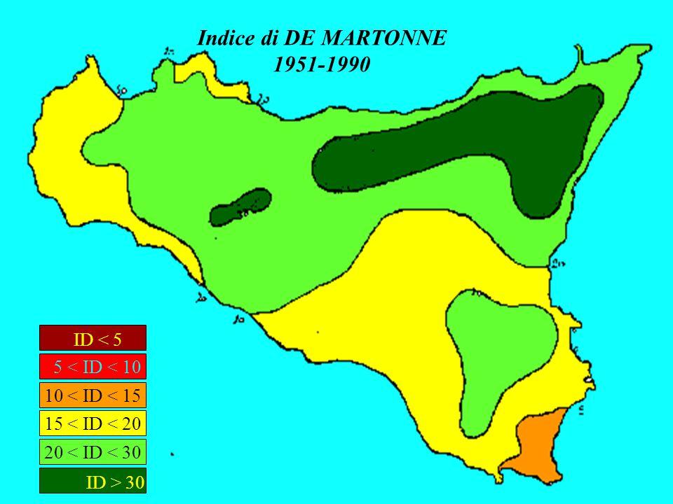 Indice di DE MARTONNE 1951-1990 ID < 5 ID > 30 5 < ID < 10