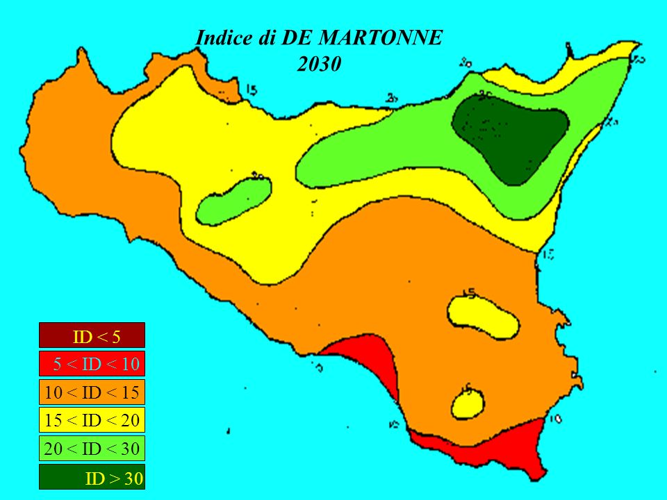 Indice di DE MARTONNE 2030 ID < 5 ID > 30 5 < ID < 10
