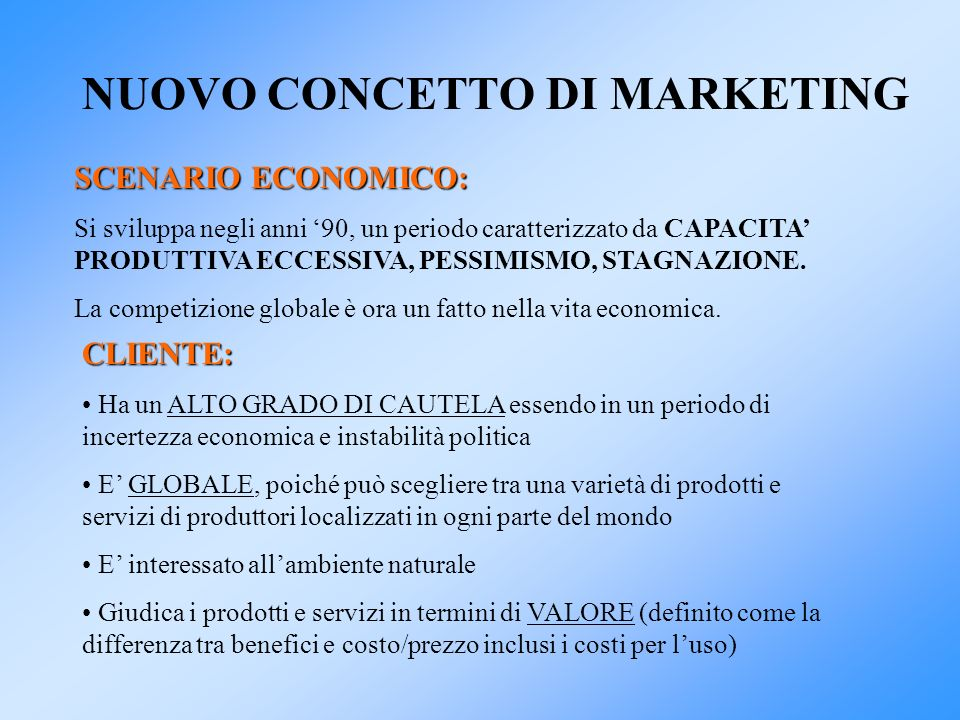 NUOVO CONCETTO DI MARKETING