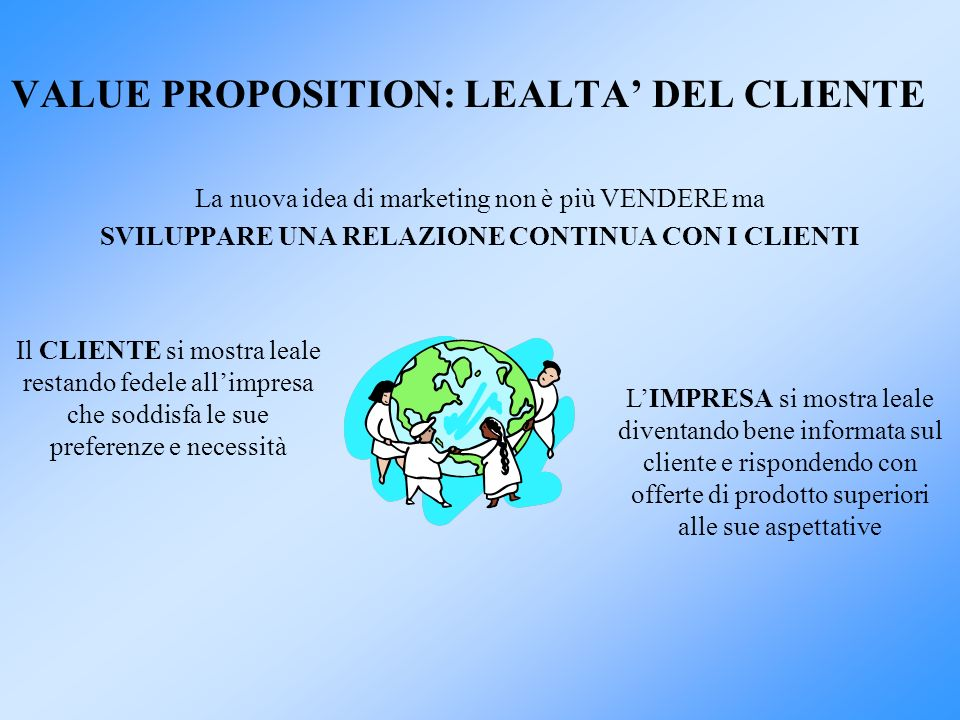 VALUE PROPOSITION: LEALTA' DEL CLIENTE
