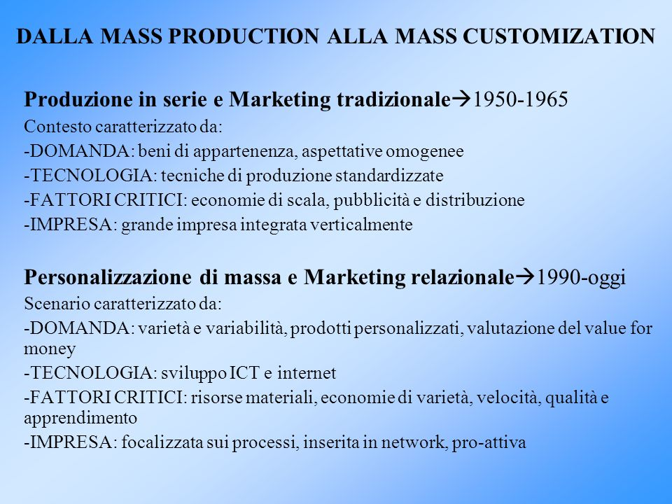 DALLA MASS PRODUCTION ALLA MASS CUSTOMIZATION