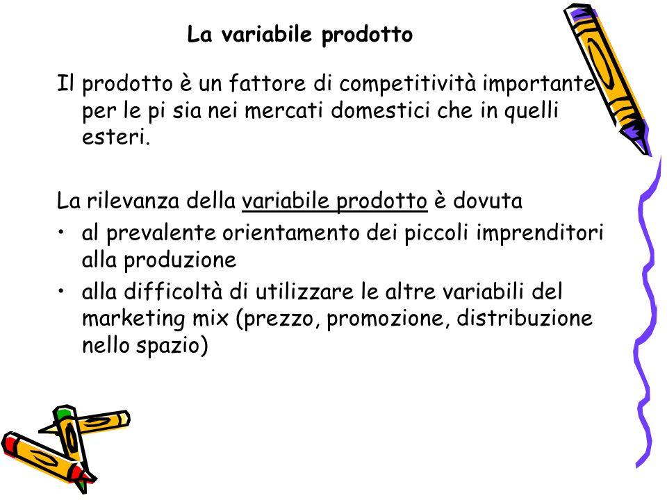 La variabile prodotto Il prodotto è un fattore di competitività importante per le pi sia nei mercati domestici che in quelli esteri.