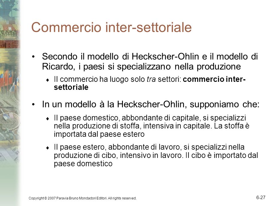 Commercio inter-settoriale