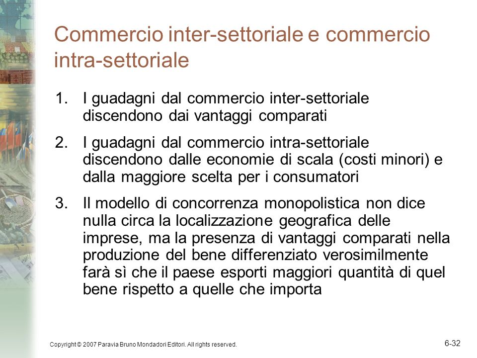 Commercio inter-settoriale e commercio intra-settoriale