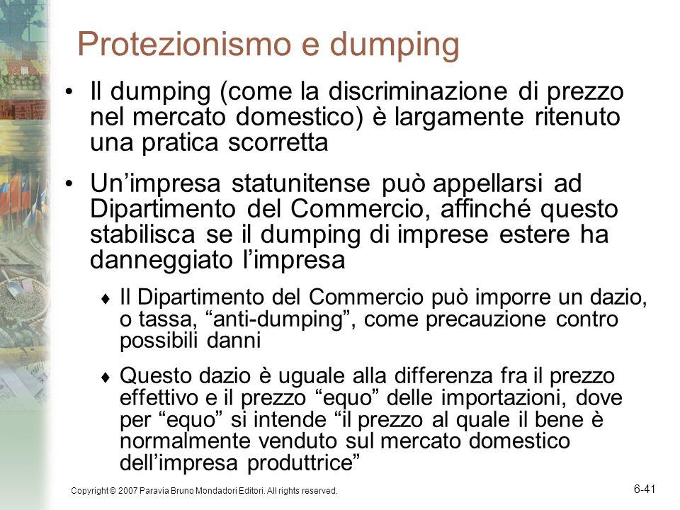Protezionismo e dumping