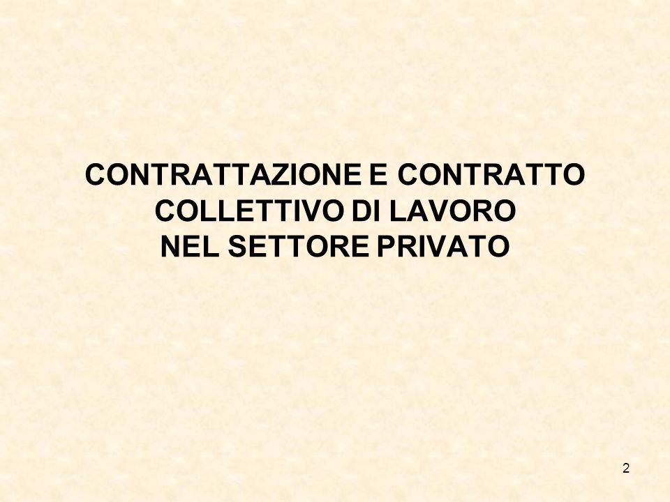 CONTRATTAZIONE E CONTRATTO COLLETTIVO DI LAVORO NEL SETTORE PRIVATO