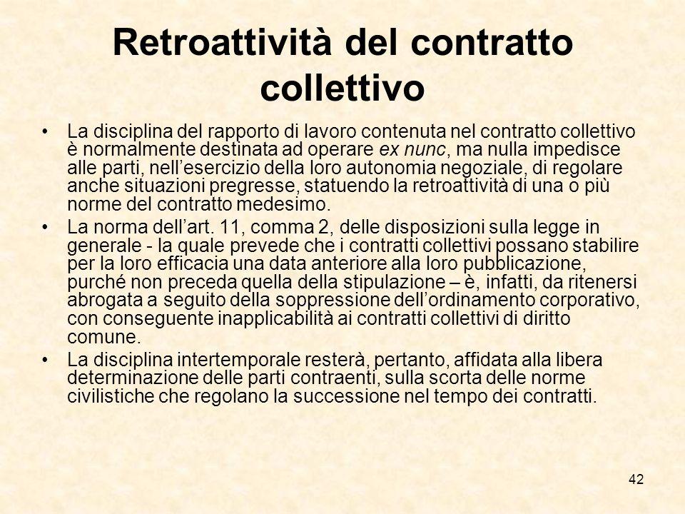 Retroattività del contratto collettivo