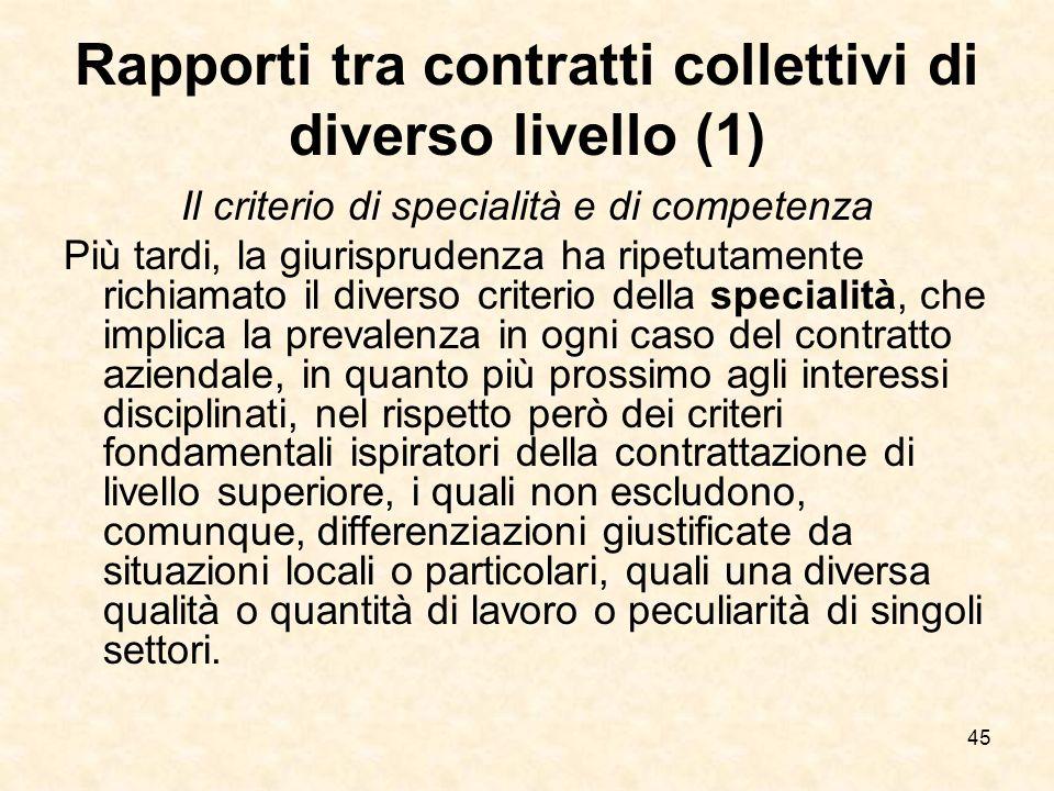 Rapporti tra contratti collettivi di diverso livello (1)