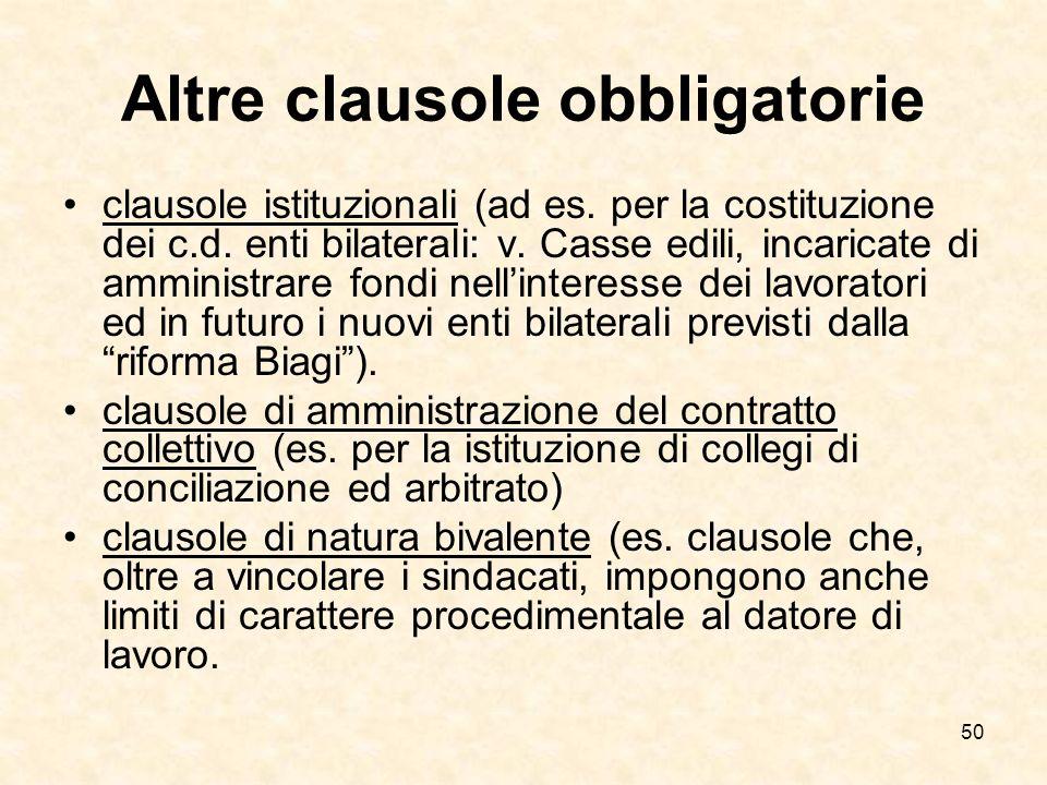 Altre clausole obbligatorie