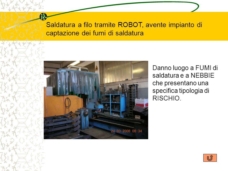 Saldatura a filo tramite ROBOT, avente impianto di captazione dei fumi di saldatura