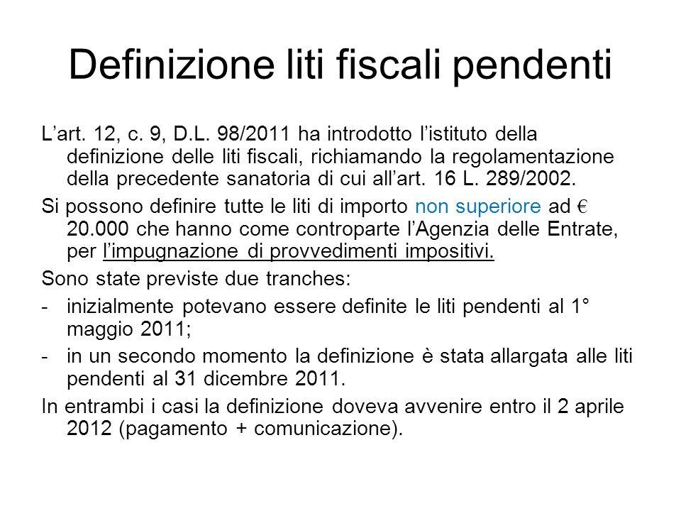 Definizione liti fiscali pendenti
