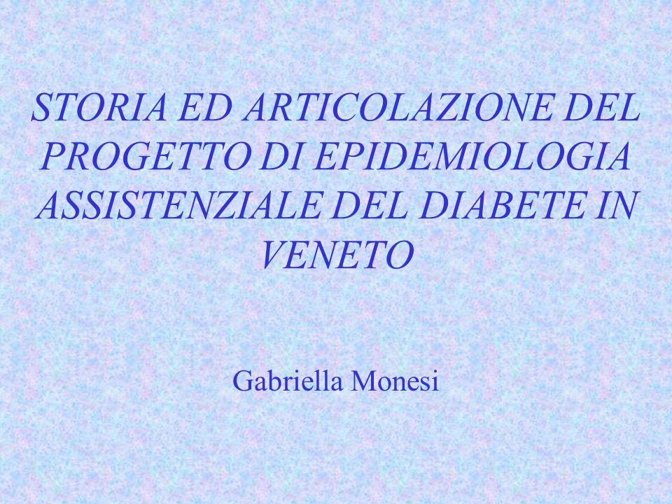 STORIA ED ARTICOLAZIONE DEL PROGETTO DI EPIDEMIOLOGIA ASSISTENZIALE DEL DIABETE IN VENETO