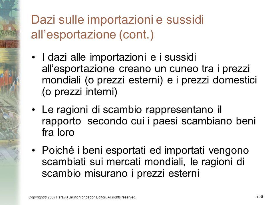 Dazi sulle importazioni e sussidi all'esportazione (cont.)