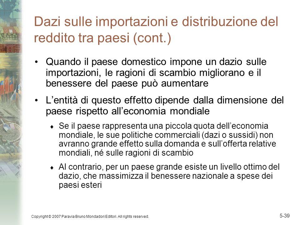 Dazi sulle importazioni e distribuzione del reddito tra paesi (cont.)