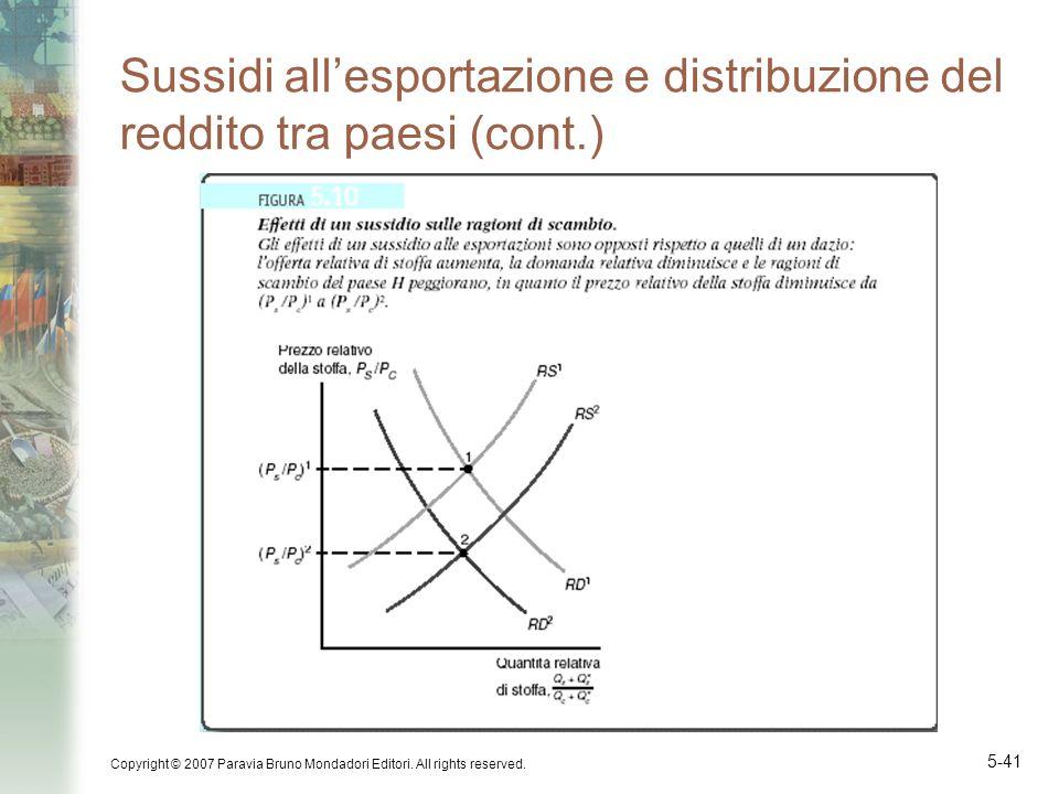 Sussidi all'esportazione e distribuzione del reddito tra paesi (cont.)