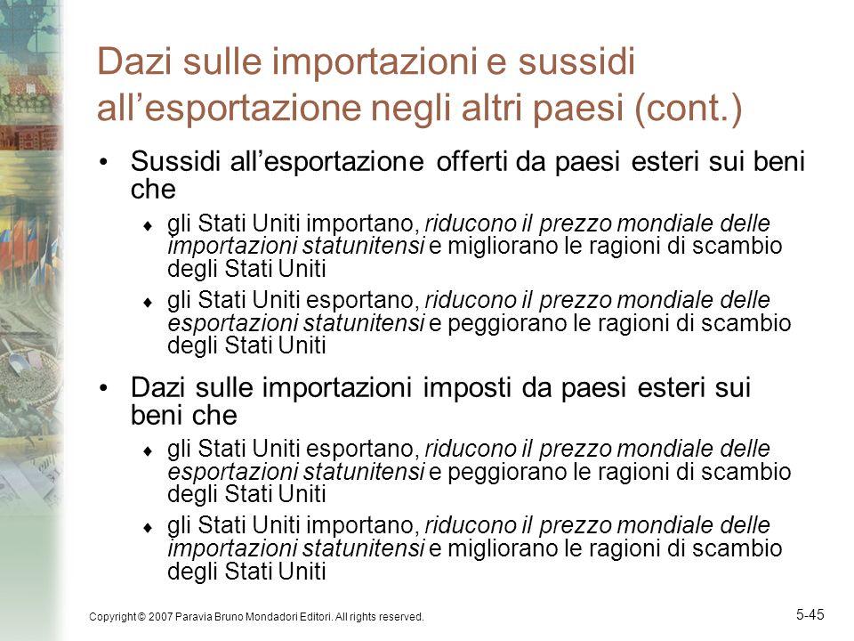 Dazi sulle importazioni e sussidi all'esportazione negli altri paesi (cont.)