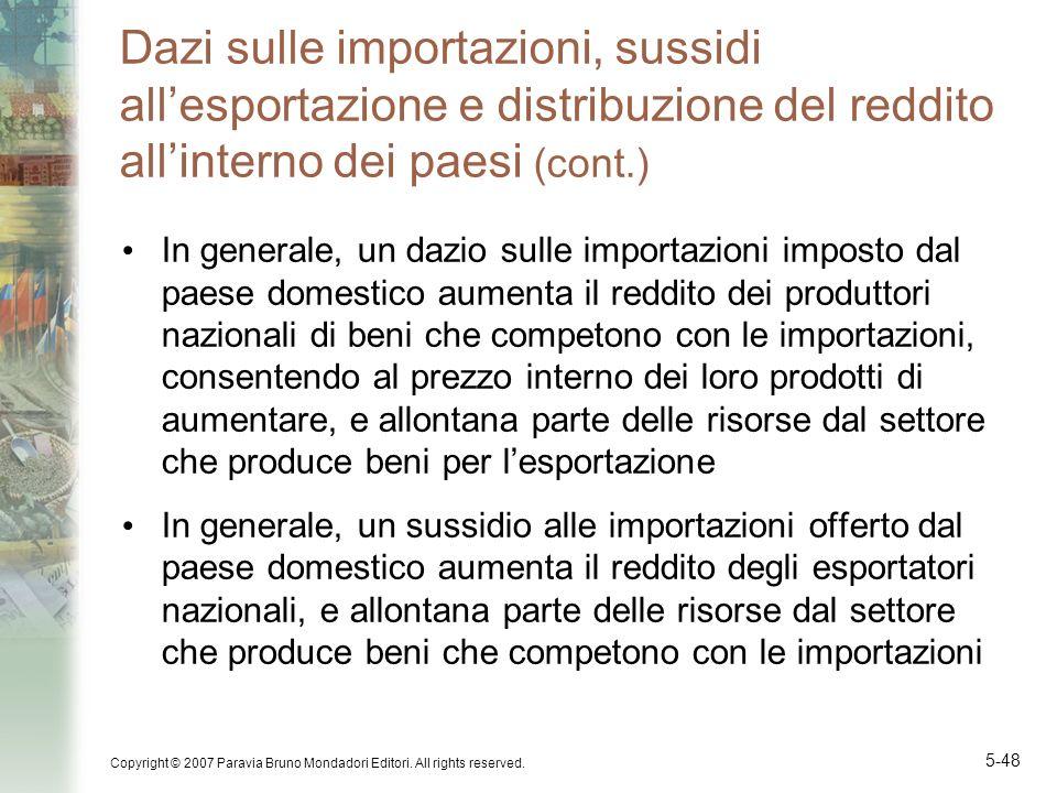 Dazi sulle importazioni, sussidi all'esportazione e distribuzione del reddito all'interno dei paesi (cont.)