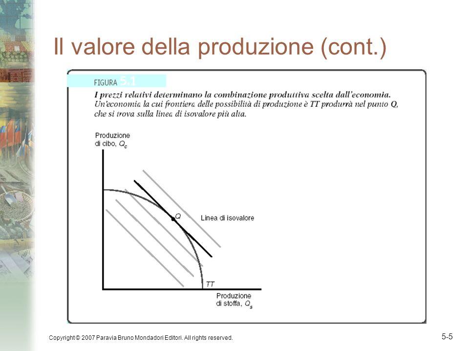 Il valore della produzione (cont.)