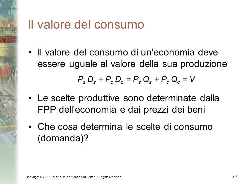 Il valore del consumo Il valore del consumo di un'economia deve essere uguale al valore della sua produzione.
