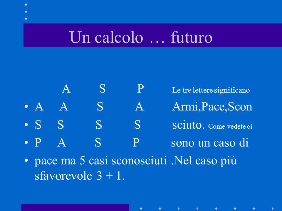 Un calcolo … futuro A S P Le tre lettere significano