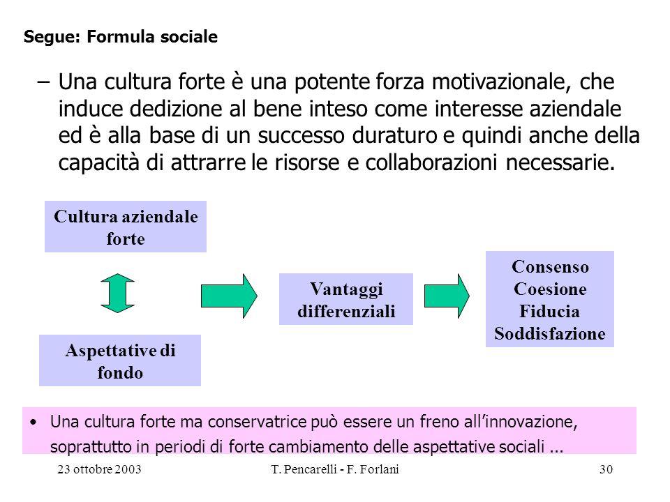 Segue: Formula sociale