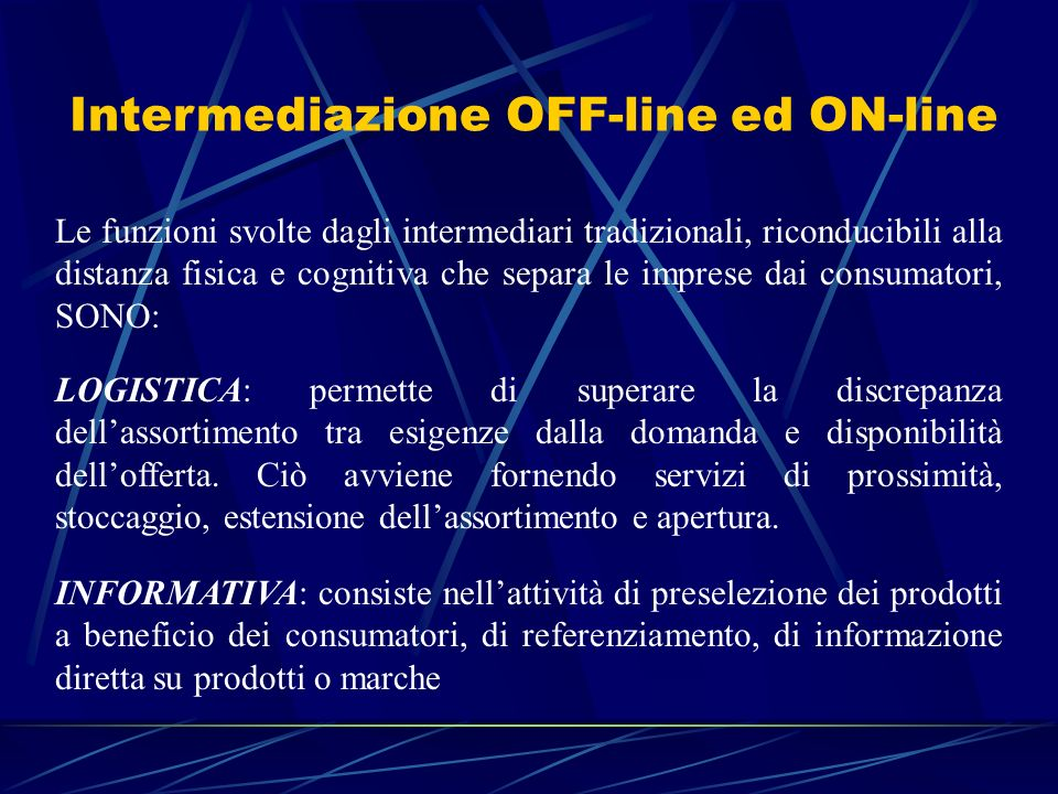 Intermediazione OFF-line ed ON-line