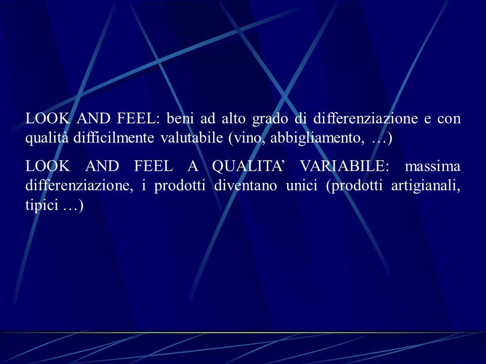 LOOK AND FEEL: beni ad alto grado di differenziazione e con qualità difficilmente valutabile (vino, abbigliamento, …)