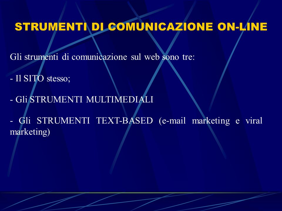 STRUMENTI DI COMUNICAZIONE ON-LINE