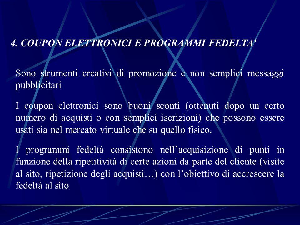 4. COUPON ELETTRONICI E PROGRAMMI FEDELTA'