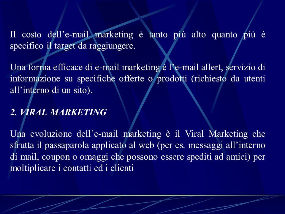 Il costo dell'e-mail marketing è tanto più alto quanto più è specifico il target da raggiungere.