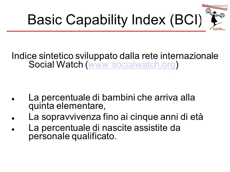 Basic Capability Index (BCI)