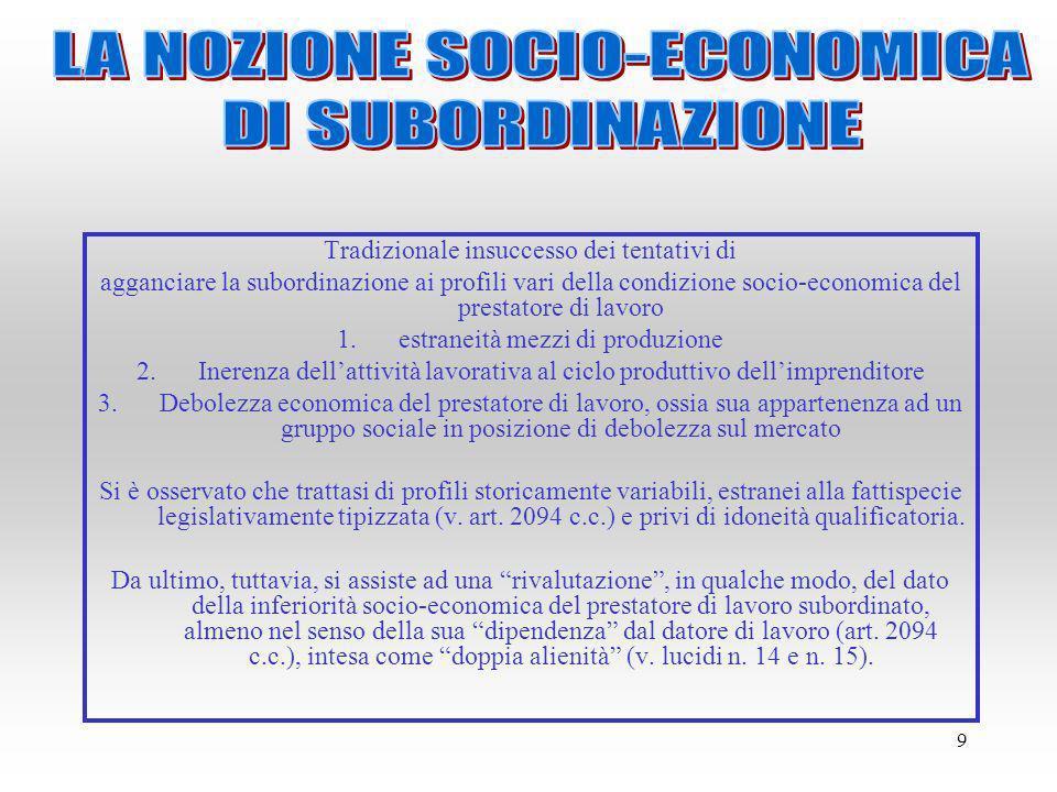 LA NOZIONE SOCIO-ECONOMICA DI SUBORDINAZIONE
