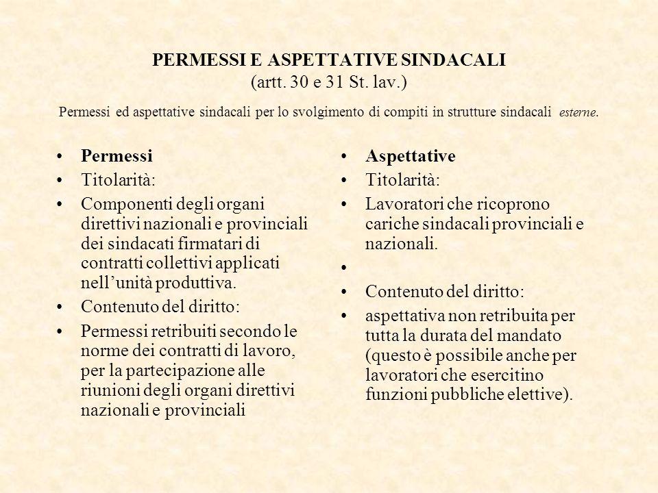 PERMESSI E ASPETTATIVE SINDACALI (artt. 30 e 31 St. lav