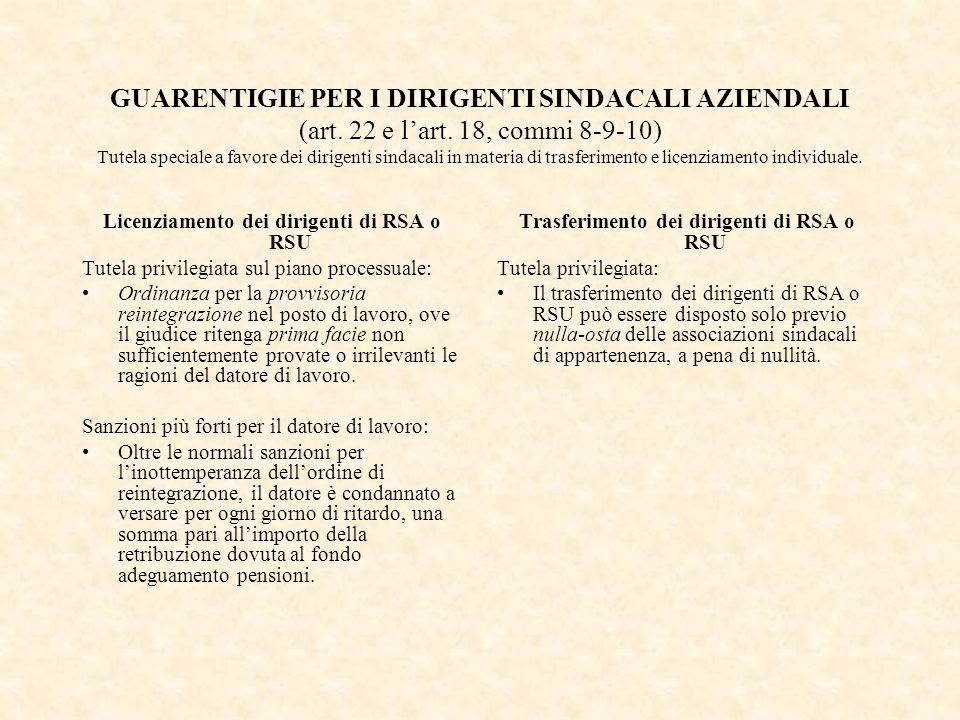 GUARENTIGIE PER I DIRIGENTI SINDACALI AZIENDALI (art. 22 e l'art