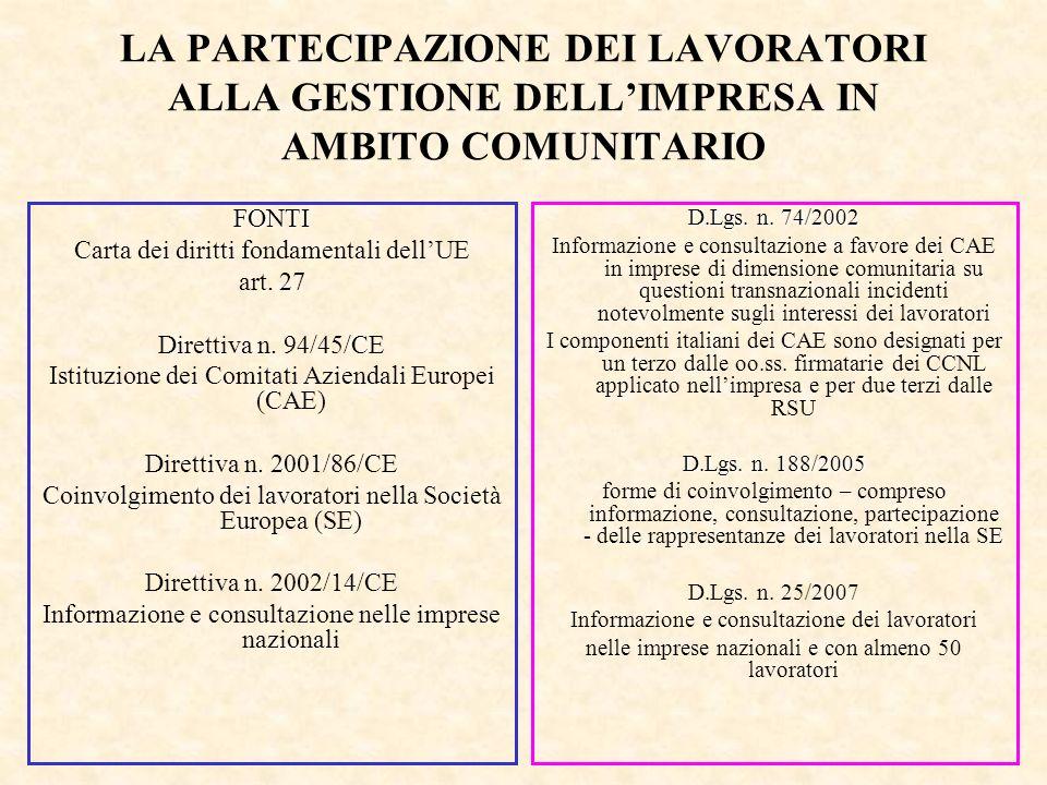 LA PARTECIPAZIONE DEI LAVORATORI ALLA GESTIONE DELL'IMPRESA IN AMBITO COMUNITARIO