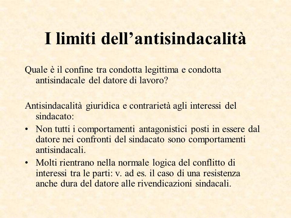 I limiti dell'antisindacalità