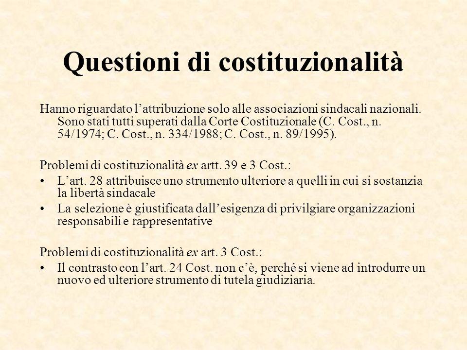 Questioni di costituzionalità