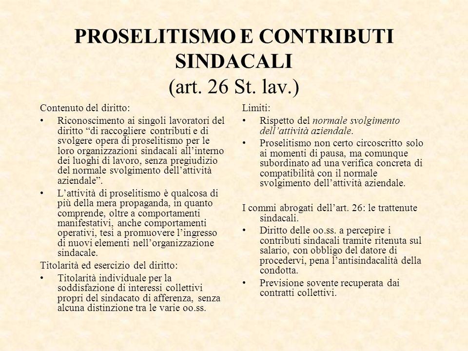PROSELITISMO E CONTRIBUTI SINDACALI (art. 26 St. lav.)