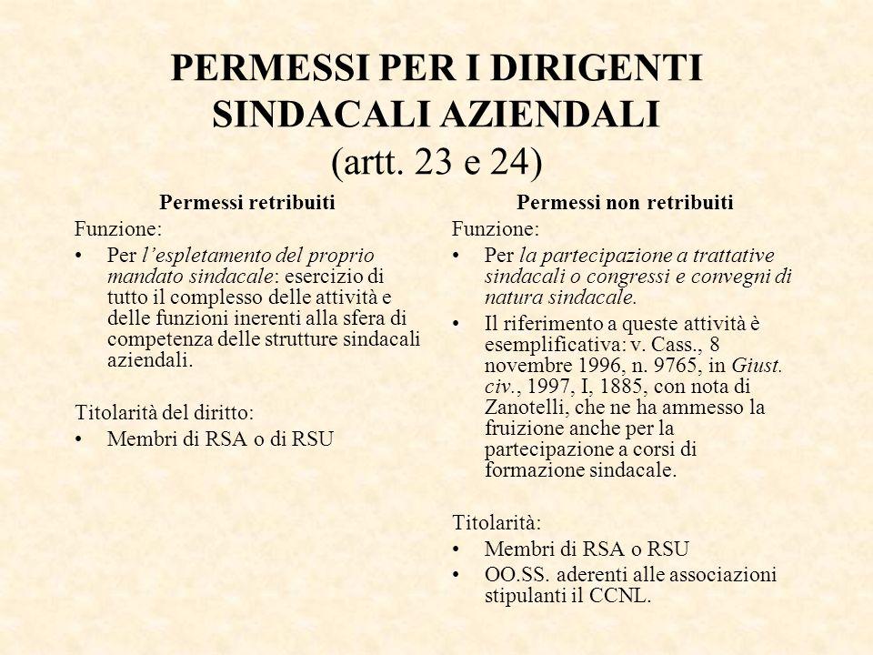 PERMESSI PER I DIRIGENTI SINDACALI AZIENDALI (artt. 23 e 24)