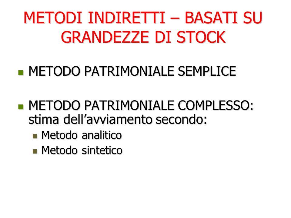 METODI INDIRETTI – BASATI SU GRANDEZZE DI STOCK